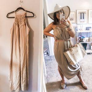 Beige linen crochet neckline maxi dress